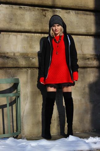 e36918c498 Look alla moda per donna: Felpa con cappuccio nera, Maglione ...