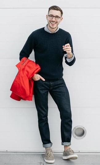 Look alla moda per uomo: Giacca a vento rossa, Maglione