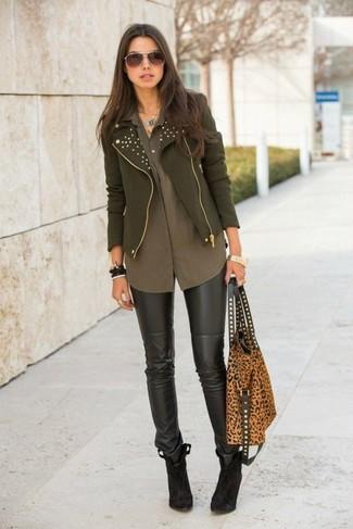 Oliva Blusa Per Alla Donna Moto Da Moda Verde Giacca Look q8Z4w