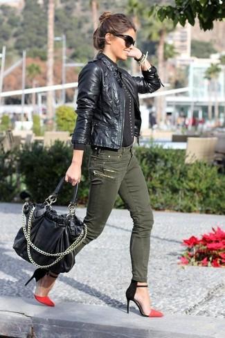 new style 11452 ca583 Look alla moda per donna: Giacca da moto in pelle nera ...