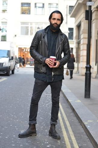 Come indossare e abbinare stivali chelsea in pelle neri con