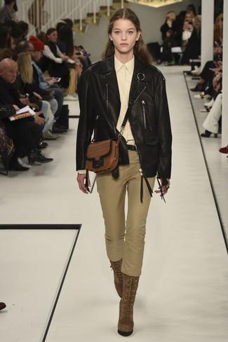 new style c767d 4f9f9 Look alla moda per donna: Giacca da moto in pelle nera ...