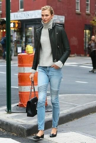 Giacca da moto dolcevita jeans aderenti large 6408