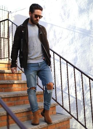 Look alla moda per uomo: Giacca da moto in pelle scamosciata