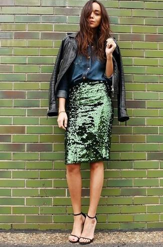cd0738aee4 Come indossare una gonna a tubino con paillettes verde scuro (2 foto ...