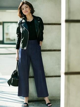 7c849ea5db Look alla moda per donna: Giacca da moto in pelle nera, Serafino ...