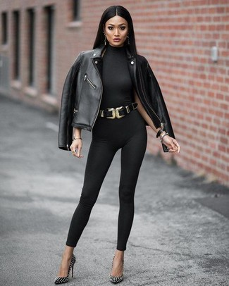 66fd29a49328 ... Look alla moda per donna  Giacca da moto in pelle nera