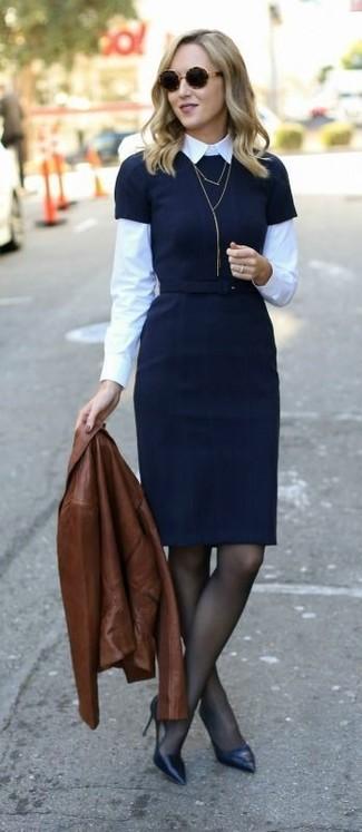 huge selection of 071c7 8f085 Look alla moda per donna: Giacca da moto in pelle marrone ...