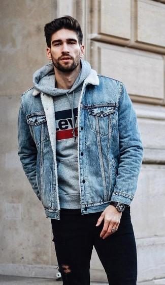 621d726d130eb ... Look alla moda per uomo  Giacca di jeans azzurra