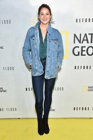 Giacca di jeans blu camisetta a maniche lunghe foglia di tè jeans aderenti blu scuro large 22528