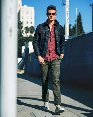 Jeans Giacca Scuro Look A Blu Alla Di Moda Uomo Per Camicia wHIxCx4YqO