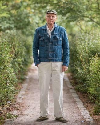 Come indossare e abbinare una coppola: Per un outfit della massima comodità, indossa una giacca di jeans blu scuro con una coppola. Sfodera il gusto per le calzature di lusso e calza un paio di sneakers basse di tela verde oliva.