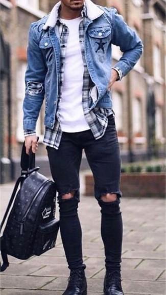 Come indossare jeans neri con una camicia blu (73 foto)  ccb71738a12b