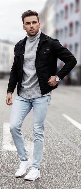 the latest ad58b 31479 Come indossare e abbinare una giacca di jeans nera (57 foto ...