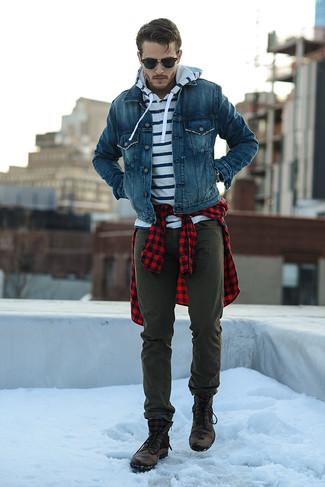 aff6983cb61d2 ... Look alla moda per uomo  Giacca di jeans blu