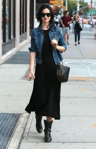 vestito lungo nero con giacca di jeans