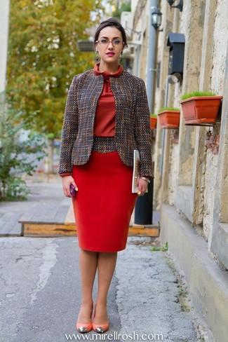 best loved 2136d c3016 Look alla moda per donna: Giacca di tweed grigia, Vestito a ...
