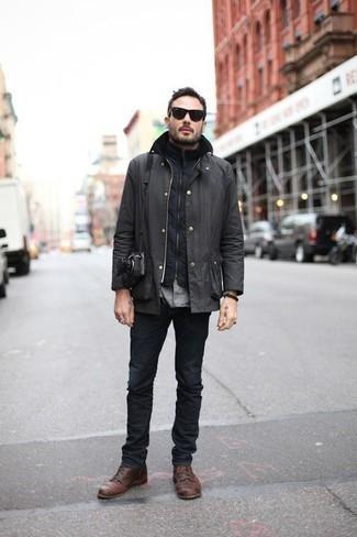 Come indossare e abbinare una giacca leggera grigio scuro: Opta per una giacca leggera grigio scuro e jeans grigio scuro per vestirti casual. Mostra il tuo gusto per le calzature di alta classe con un paio di stivali casual in pelle marroni.