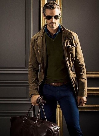 Moda Per Marrone Maglione Giacca Con Uomo Militare Look Alla OE1qwA5