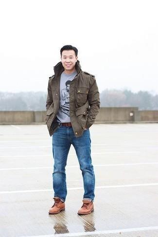 Come indossare e abbinare una cintura in pelle marrone: Per un outfit della massima comodità, potresti abbinare una giacca militare marrone con una cintura in pelle marrone. Scegli uno stile classico per le calzature e mettiti un paio di stivali casual in pelle terracotta.
