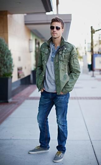 Giubbotto jeans verde militare