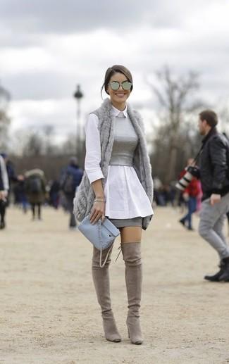 donna alla Camicia moda Gilet per grigio pelliccia di Look qt7wff