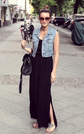... Look alla moda per donna  Gilet di jeans azzurro 87a104079f6