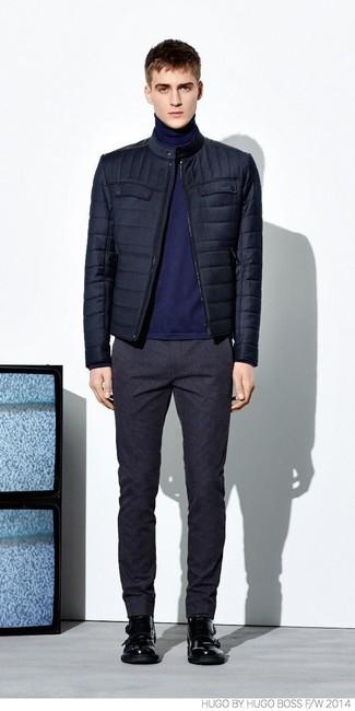 Look alla moda per uomo  Giubbotto bomber trapuntato blu scuro ... 2400515546f