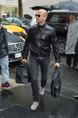 size 40 e1fc5 719f2 Look di Jason Statham: Giubbotto bomber in pelle nero, Jeans ...