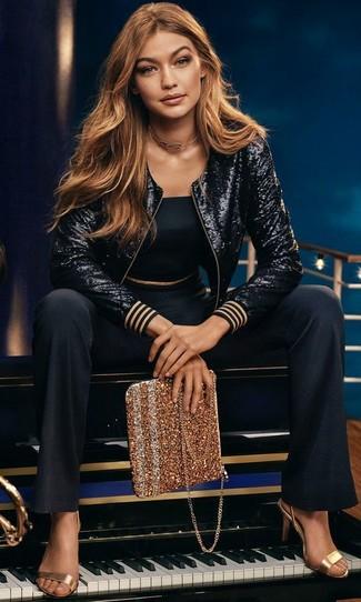 Sandali con tacco in pelle dorati di Glamorous