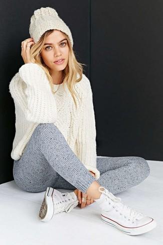 Per A Di Alla Donna Bianco Trecce Lana Moda Look Maglione Leggings E1XqnHZEz