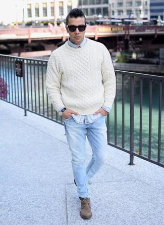 Per Look A Di Camicia Jeans Uomo Beige Trecce Moda Alla Maglione EEwZqpr