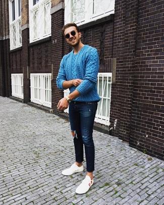 Come indossare e abbinare un maglione a trecce verde (3