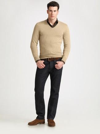 20d4e827ff Look alla moda per uomo: Maglione con scollo a v marrone chiaro ...