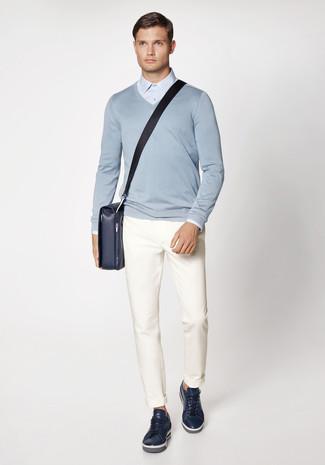 Con Maglione A Uomo Look Moda Azzurro V Alla Camicia Per Scollo xwZqZIXT0
