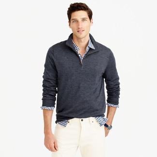 01566b787c Look alla moda per uomo: Maglione con zip grigio scuro, Camicia a ...