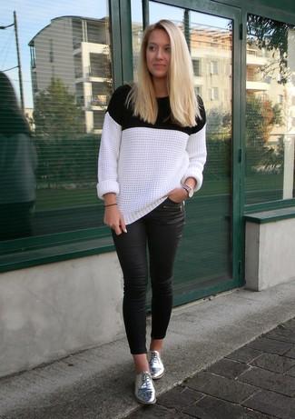 Bianco Donna Nero E Alla Girocollo Look Per Maglione Moda qYtpP