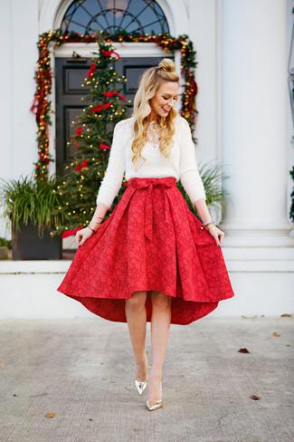 size 40 fee25 d1131 Come indossare una gonna a ruota rossa e bianca (31 foto ...