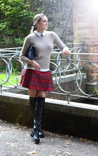 Maglione Per Alla Moda Grigio Donna Camicia Look Girocollo cHASqaaW