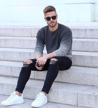 Ombre Alla Look Girocollo Grigio Moda Maglione Per Uomo Jeans 0rYwnYXqd