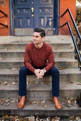Come indossare e abbinare un orologio in pelle bordeaux: Prova a combinare un maglione girocollo rosso con un orologio in pelle bordeaux per una sensazione di semplicità e spensieratezza. Aggiungi un paio di stivali chelsea in pelle terracotta al tuo look per migliorare all'istante il tuo stile.