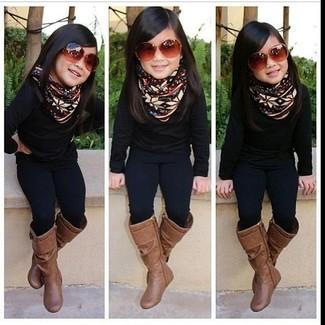 Come indossare: maglione nero, leggings neri, stivali marroni