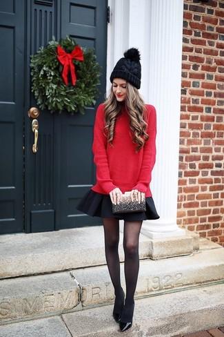 087934eb94 Look alla moda per donna: Maglione oversize rosso, Gonna a pieghe ...