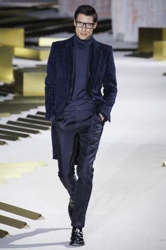 buona vendita vendibile negozio online Look alla moda per uomo: Pelliccia blu scuro, Abito blu ...