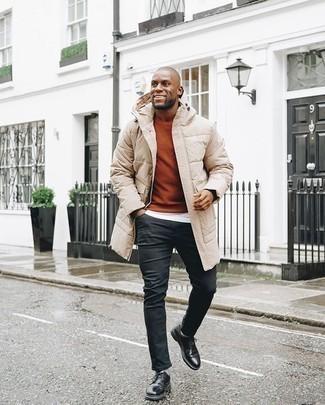 Come indossare e abbinare un maglione girocollo terracotta: Indossa un maglione girocollo terracotta e jeans neri per un look trendy e alla mano. Mettiti un paio di scarpe derby in pelle nere per mettere in mostra il tuo gusto per le scarpe di alta moda.