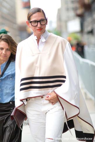 Poncho beige camicia elegante bianca jeans bianchi large 13521
