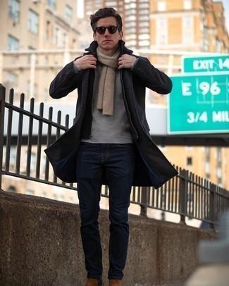 Come indossare e abbinare occhiali da sole marrone scuro: Coniuga un soprabito grigio scuro con occhiali da sole marrone scuro per un'atmosfera casual-cool. Scegli un paio di stivali chelsea in pelle scamosciata marroni per un tocco virile.