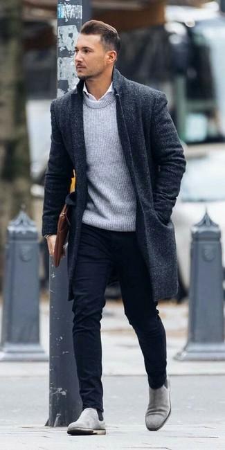ff78d89cc5 Look alla moda per uomo: Soprabito blu scuro, Maglione girocollo ...