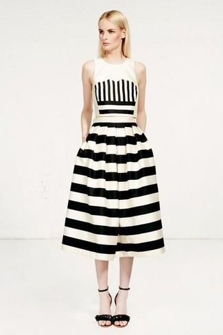 74dc49207ed0 Come indossare: top corto a righe verticali bianco e nero, gonna a ruota a