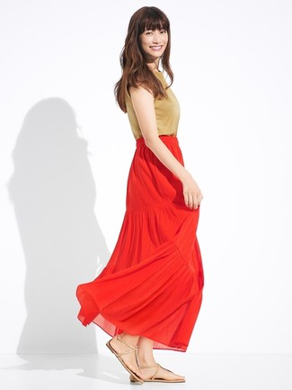 d2912acf05 Come indossare una gonna lunga rossa (18 foto) | Moda donna | Lookastic